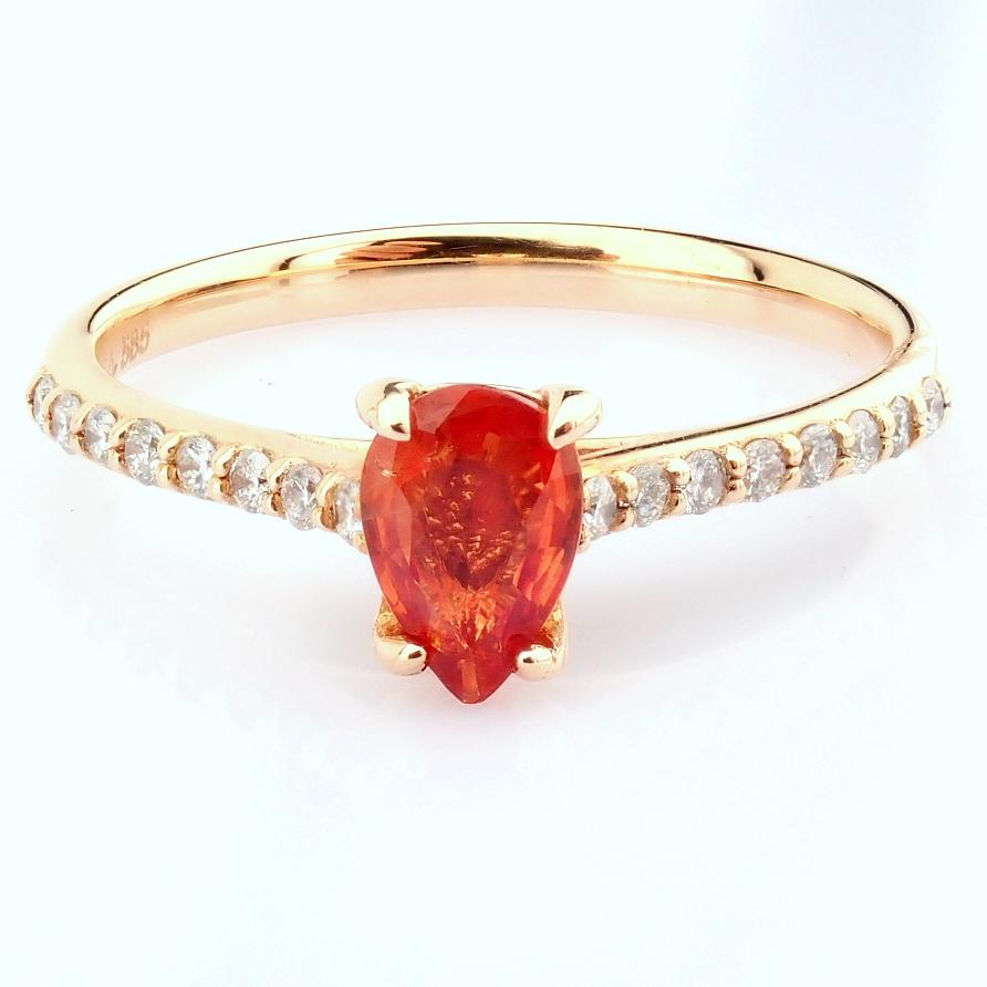 14K Rose/Pink Gold Diamond & Orange Sapphire Ring - Image 3 of 7