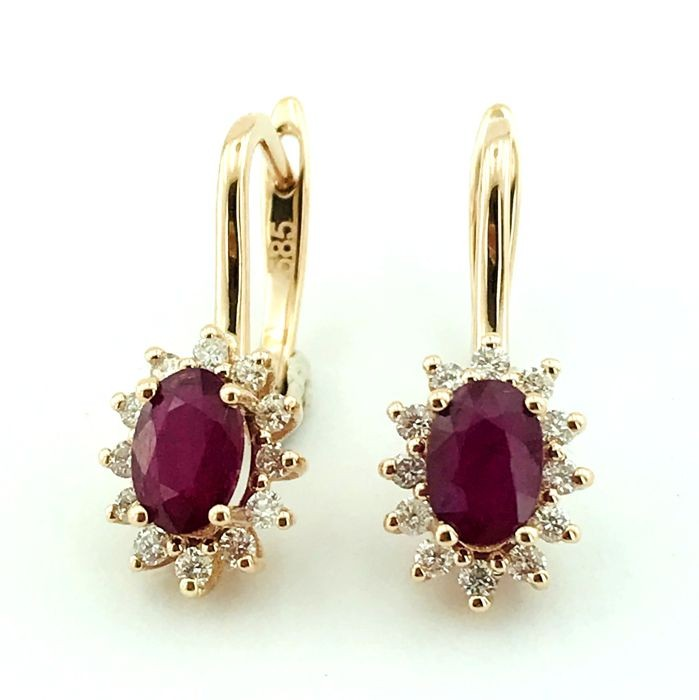 14K Pink Gold Cluster Earring , Natural Ruby and Diamond