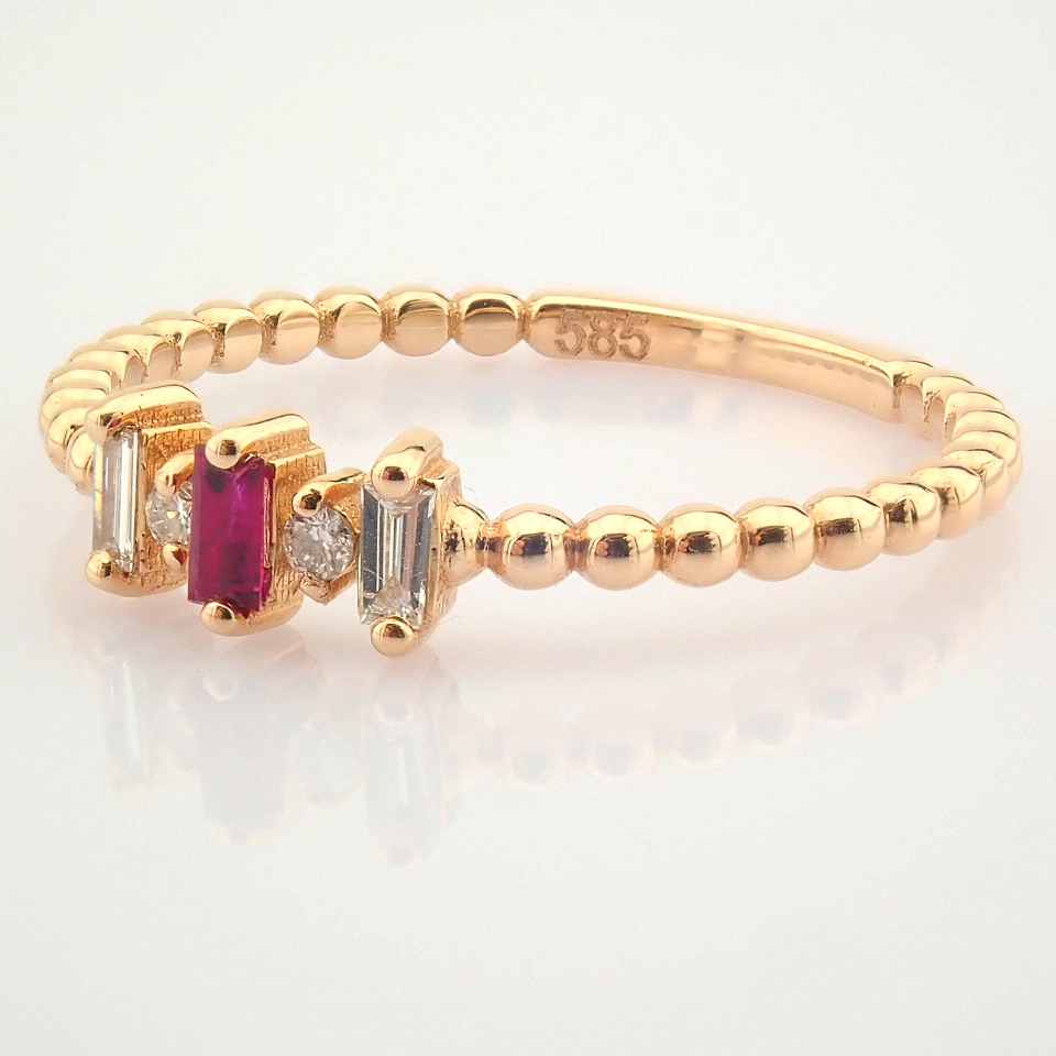 14K White and Rose Gold Diamond & Ruby Ring - Image 3 of 8