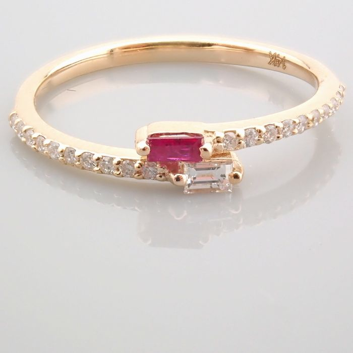14 kt. Yellow gold - Ring - 0.14 Ct. Diamond - Ruby - Image 9 of 14
