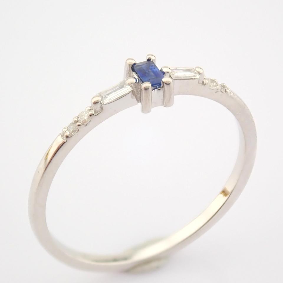 14K White Gold Diamond & Sapphire Ring - Image 4 of 10