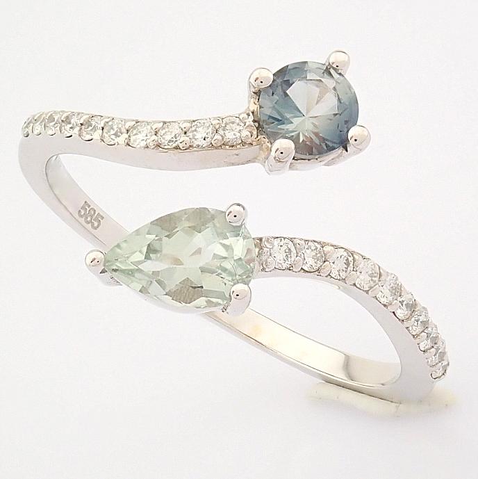 14K White Gold Diamond & Tourmaline Ring - Image 2 of 6