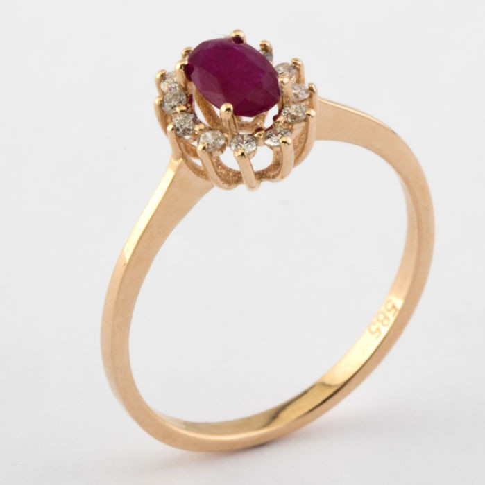 14K Pink Gold Cluster Ring , Natural Ruby and Diamond - Image 6 of 6