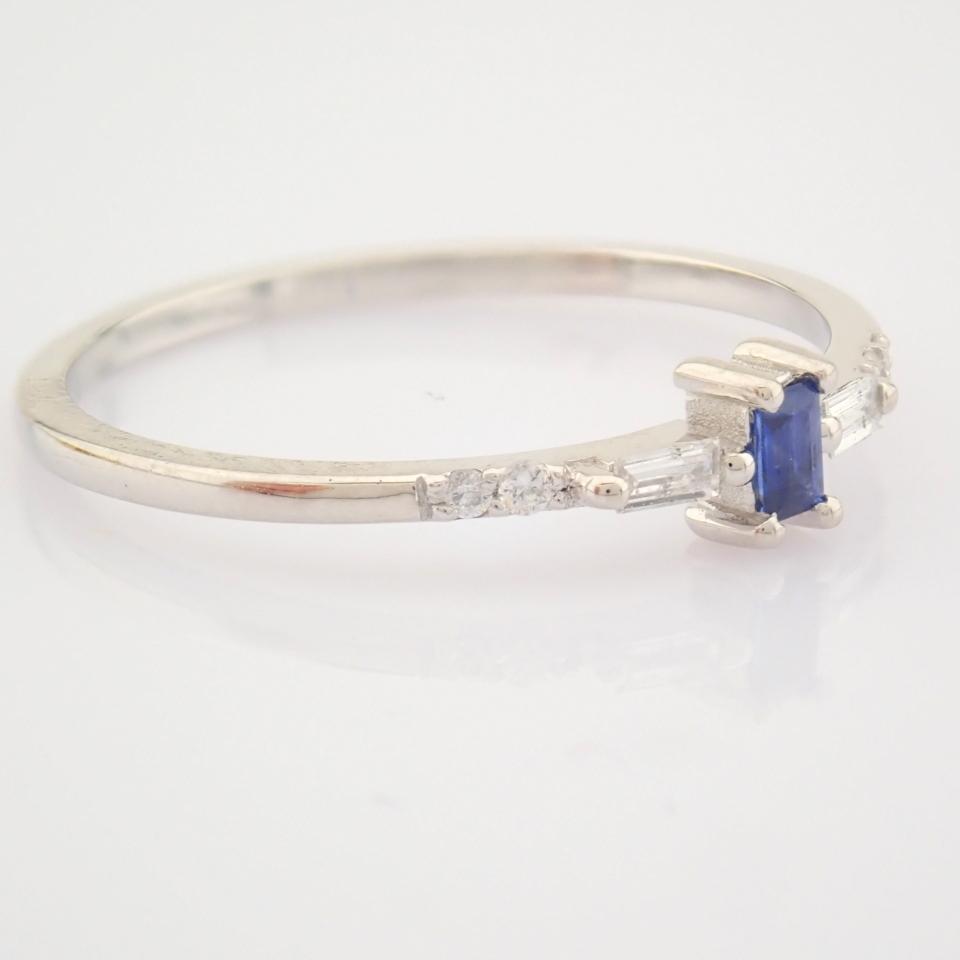 14K White Gold Diamond & Sapphire Ring - Image 2 of 10