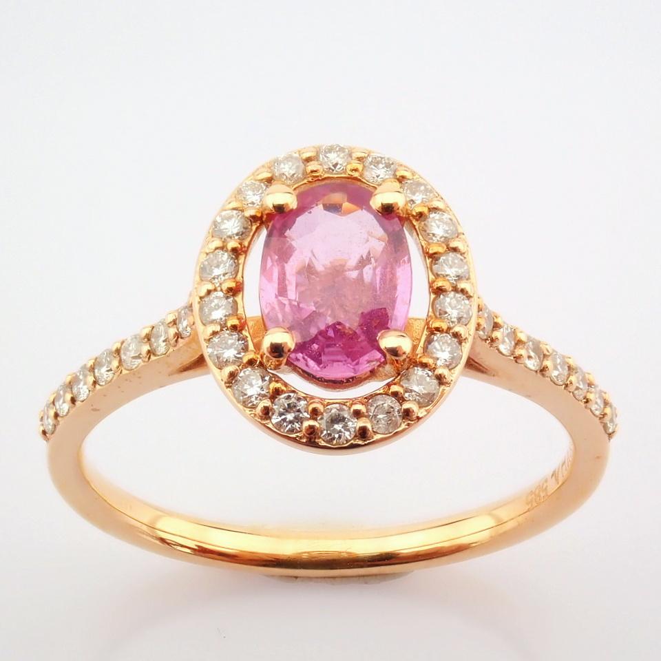 14K Rose/Pink Gold Diamond & Pink Sapphire Ring - Image 5 of 6