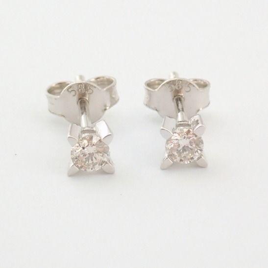 14 kt. White gold - Earrings - 0.20 Ct. Diamond - Image 6 of 6