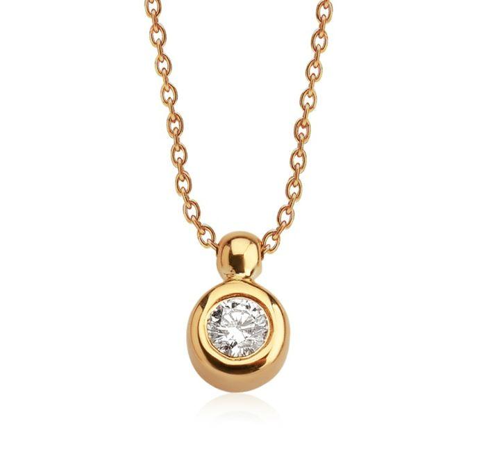 14K Rose Gold - Diamond Pendant Necklace 0,14 Ct.