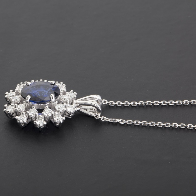 18K White Gold Sapphire Cluster Pendant Necklace Total 1.77 Ct. - Image 2 of 9