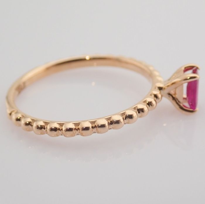 14 kt. Pink gold - Ring - 0.24 Ct. Ruby - Image 6 of 8