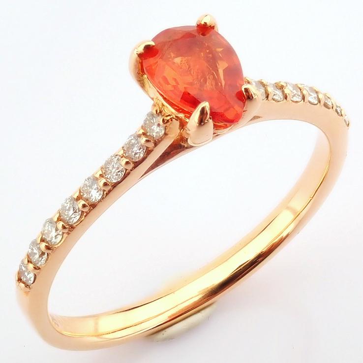 14K Rose/Pink Gold Diamond & Orange Sapphire Ring
