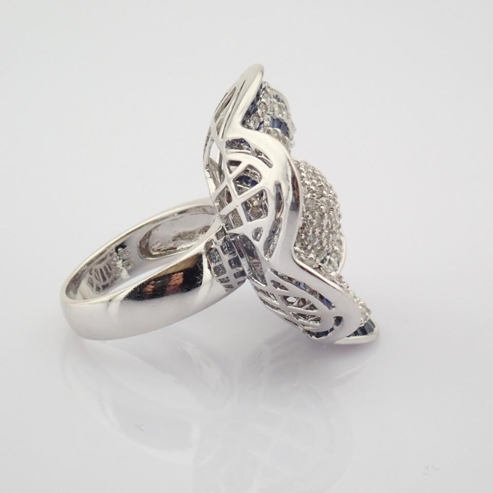 18K White Gold Ring- 4,75 Ct. Natural Sapphire, 2,70 Ct. Diamond - Image 5 of 8