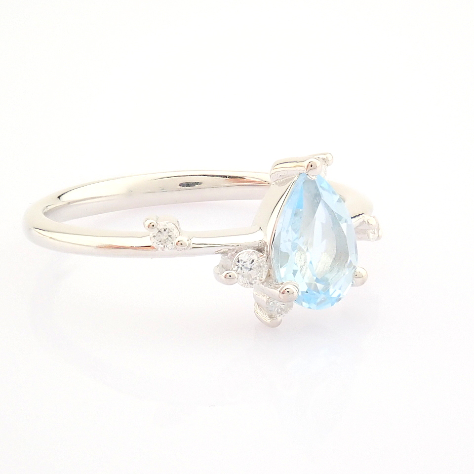 14K White Gold Diamond & Swiss Blue Topaz Ring - Image 12 of 12
