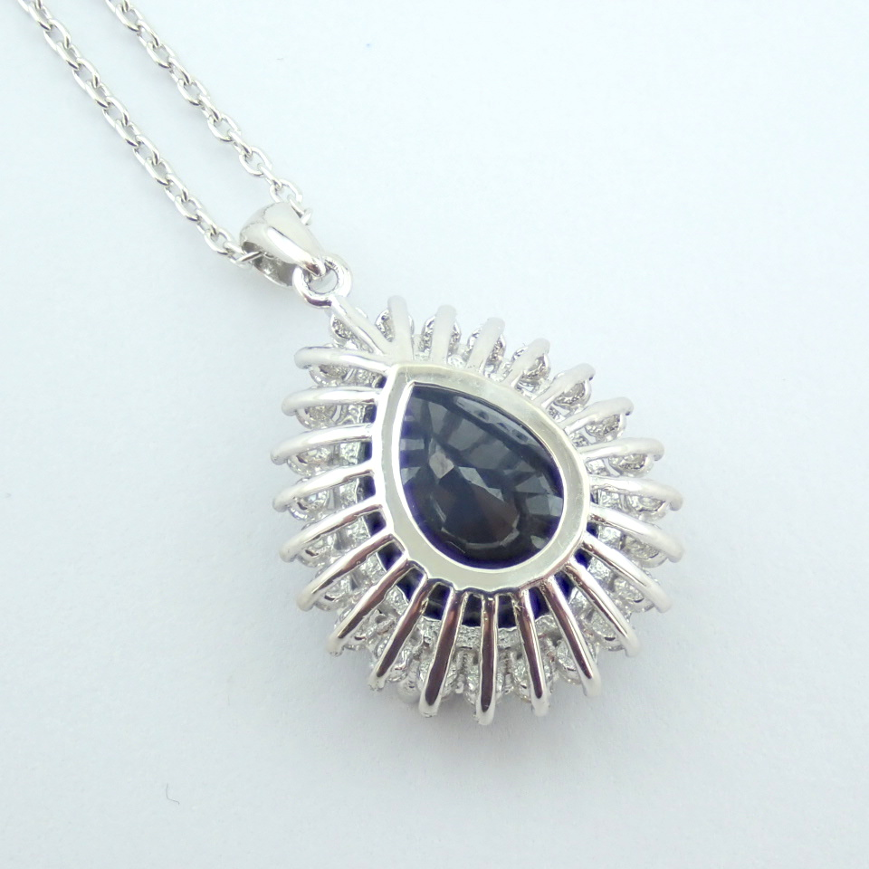 14K White Gold Diamond & Sapphire Necklace - Image 9 of 13