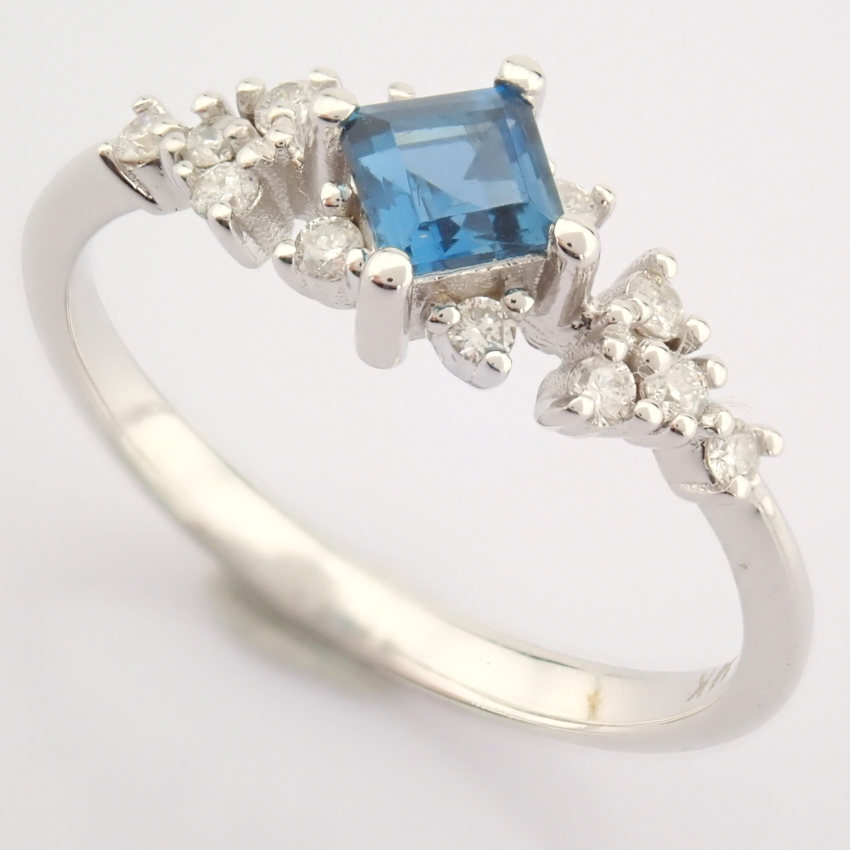 14K White Gold Diamond & London Blue Topaz Ring - Image 3 of 10