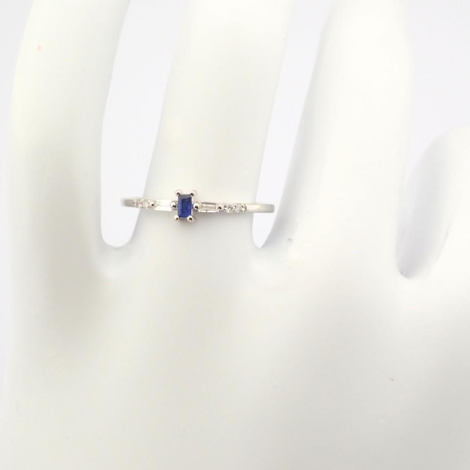 14K White Gold Diamond & Sapphire Ring - Image 6 of 10