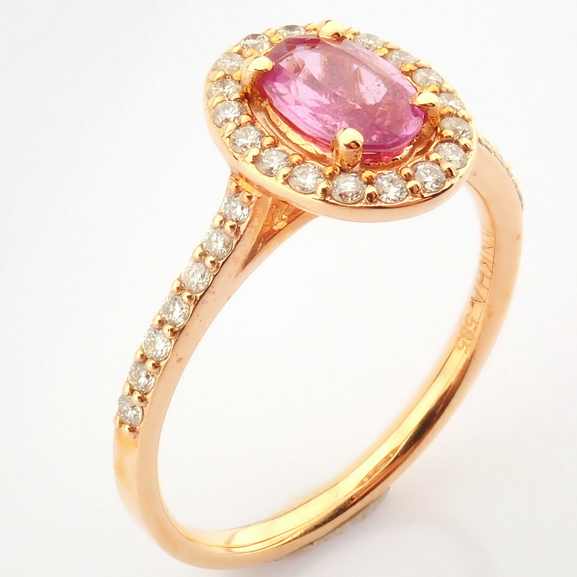 14K Rose/Pink Gold Diamond & Pink Sapphire Ring - Image 6 of 6