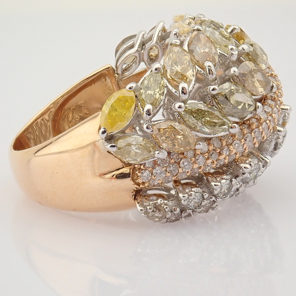 18K Rose Gold Ring- Total 4,31 Ct. Diamond - Image 6 of 8