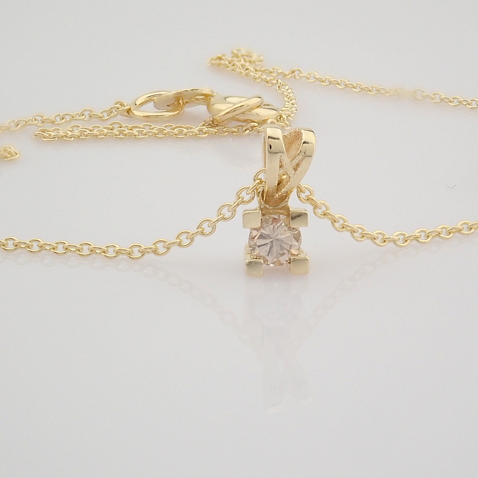 14K Yellow Gold Diamond Solitaire Necklace - Image 7 of 8