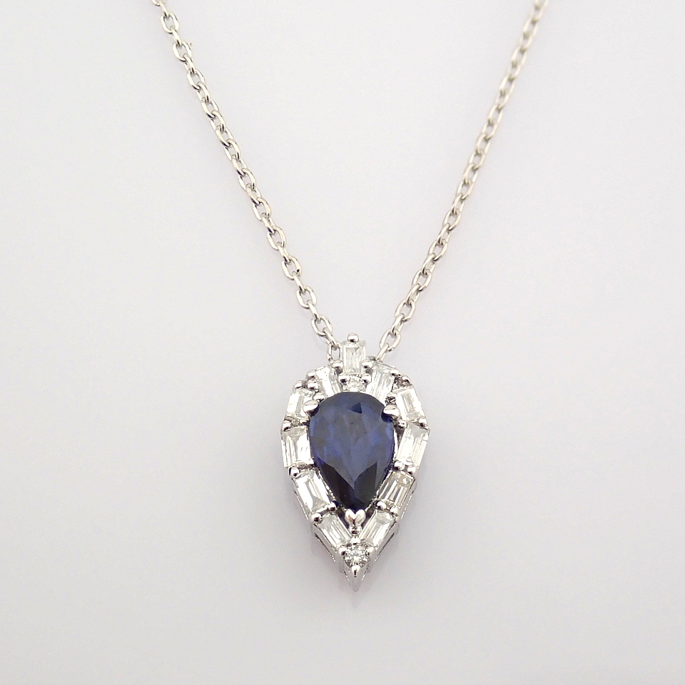 14K White Gold Diamond & Sapphire Necklace - Image 2 of 8