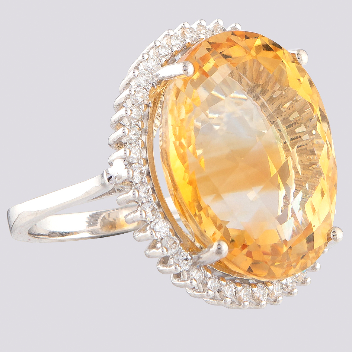 14K White Gold Large Cluster Ring 17,90 Ct. Citrine - 0,55 Ct. Diamond - Image 3 of 4