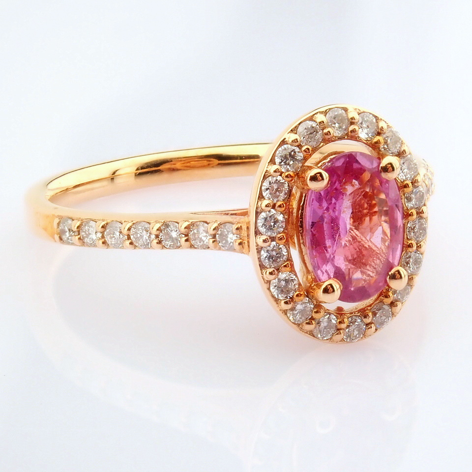 14K Rose/Pink Gold Diamond & Pink Sapphire Ring - Image 2 of 6
