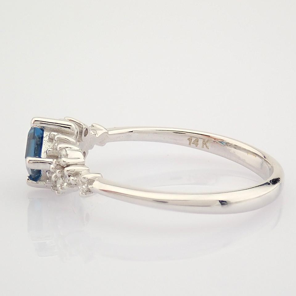 14K White Gold Diamond & London Blue Topaz Ring - Image 6 of 10