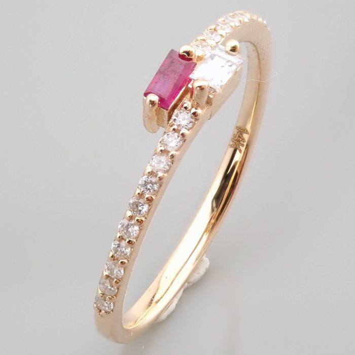 14 kt. Yellow gold - Ring - 0.14 Ct. Diamond - Ruby - Image 13 of 14