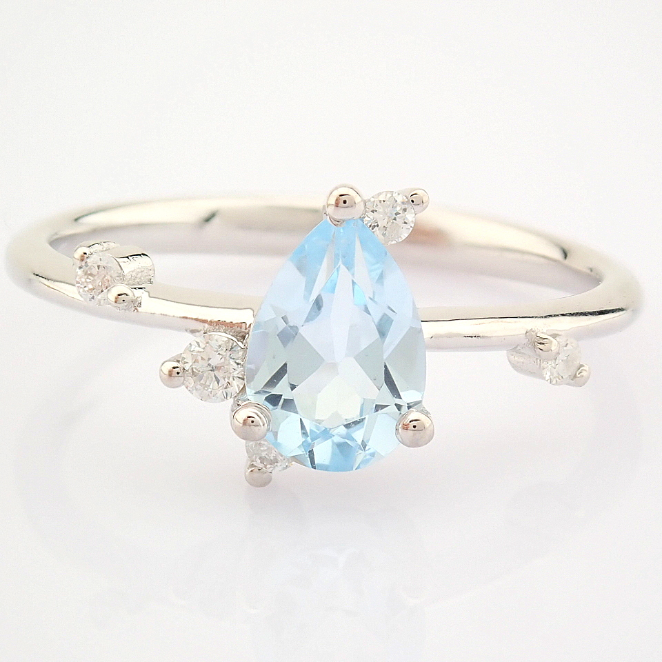 14K White Gold Diamond & Swiss Blue Topaz Ring - Image 9 of 12