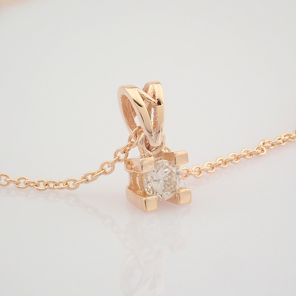 14K Rose/Pink Gold Diamond Solitaire Necklace - Image 6 of 7