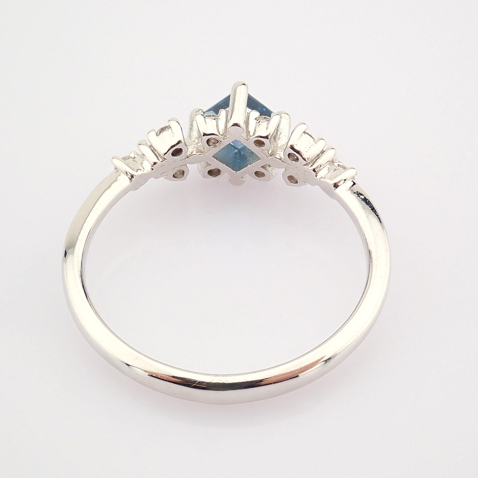 14K White Gold Diamond & London Blue Topaz Ring - Image 7 of 10