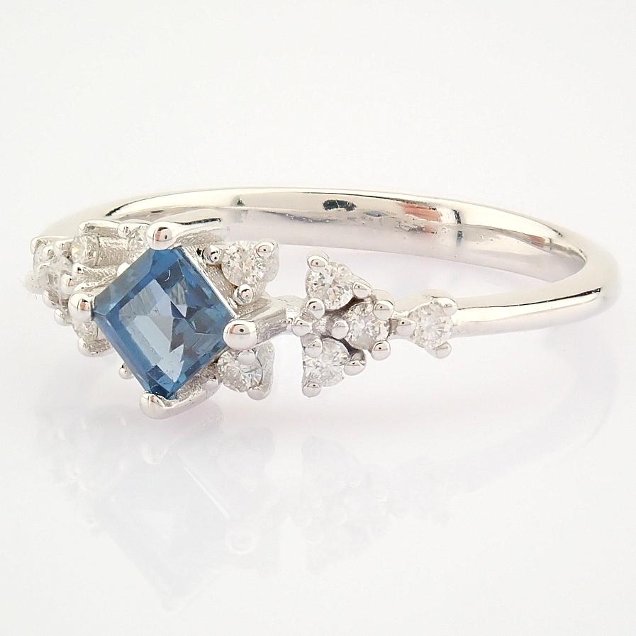14K White Gold Diamond & London Blue Topaz Ring - Image 4 of 10