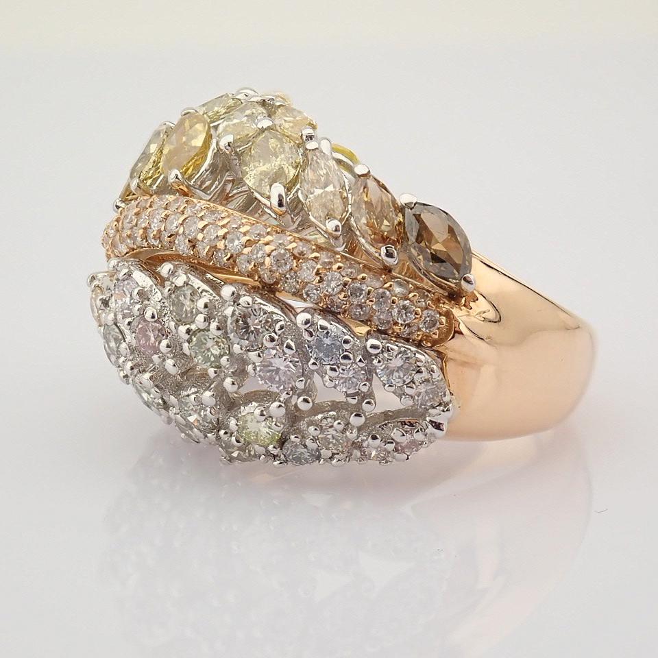 18K Rose Gold Ring- Total 4,31 Ct. Diamond - Image 7 of 8