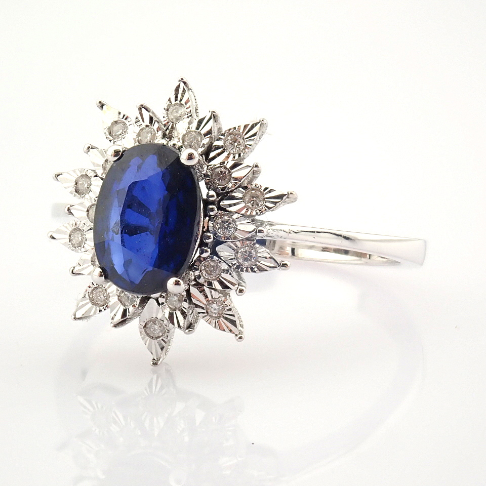 14K White Gold Diamond & Sapphire Ring - Image 5 of 8