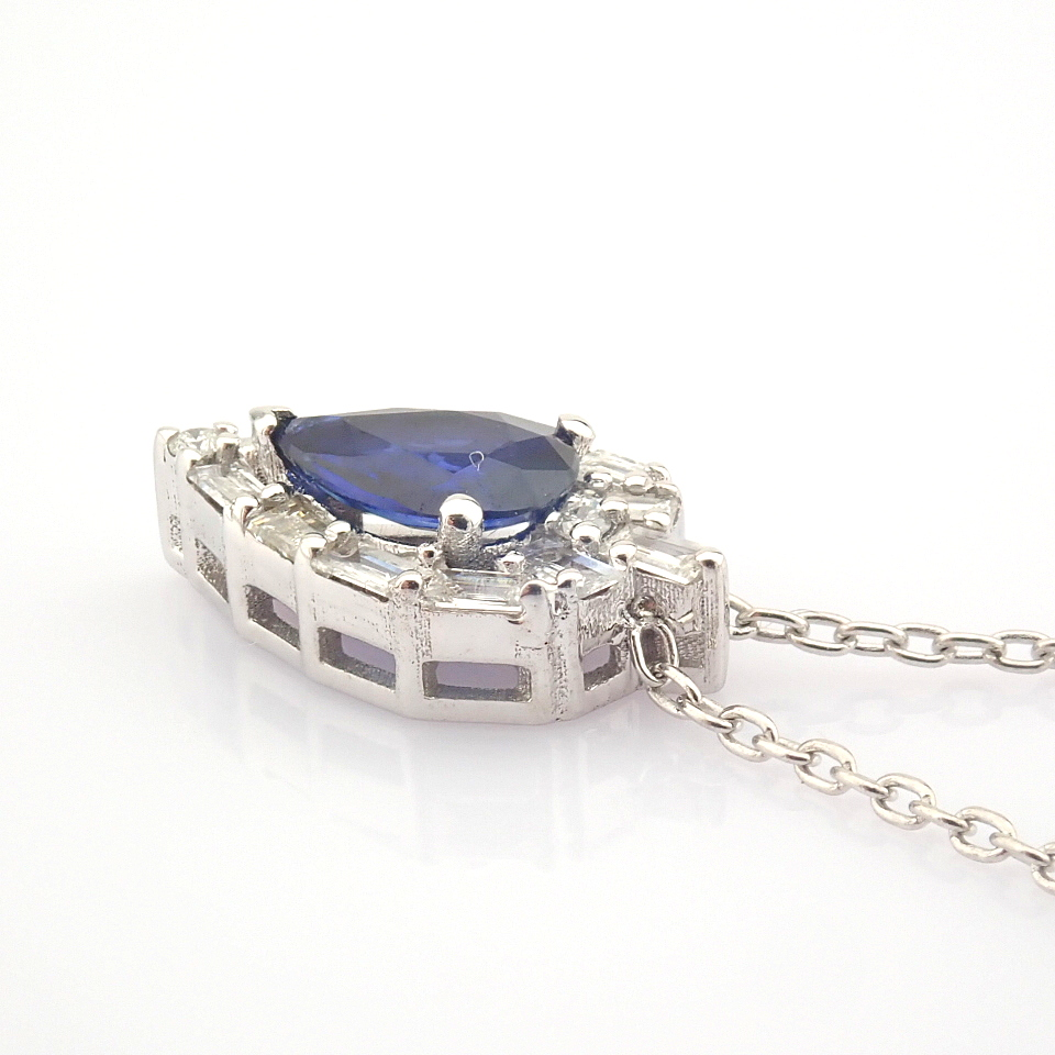 14K White Gold Diamond & Sapphire Necklace - Image 4 of 8
