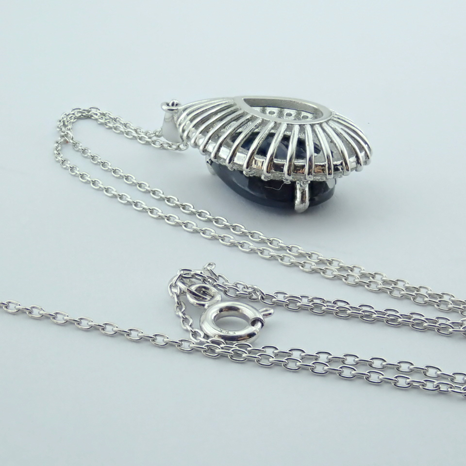 14K White Gold Diamond & Emerald Necklace - Image 14 of 14