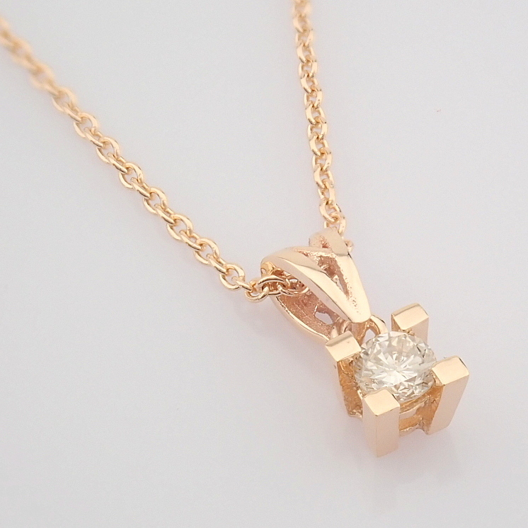 14K Rose/Pink Gold Diamond Solitaire Necklace