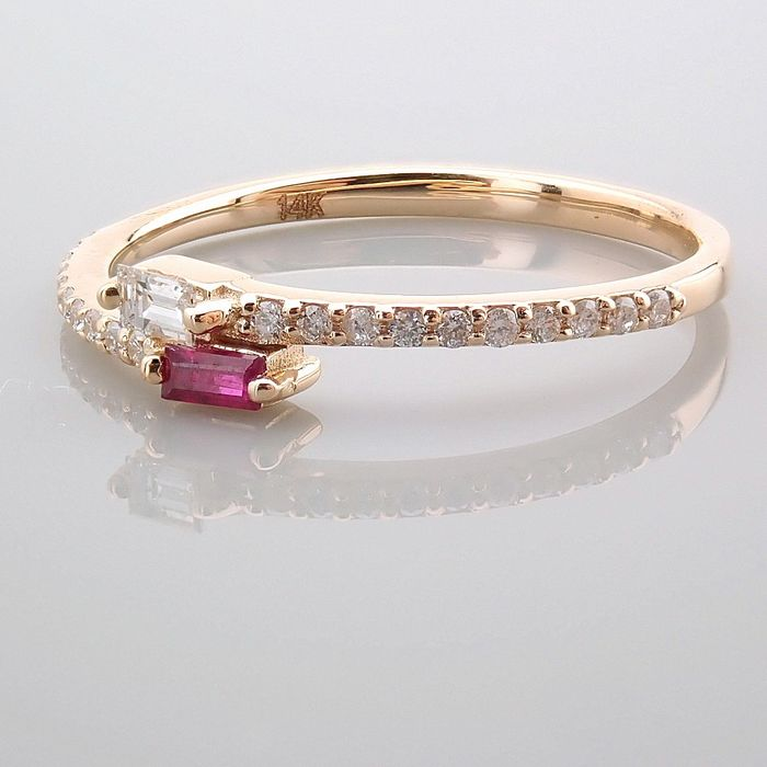 14 kt. Yellow gold - Ring - 0.14 Ct. Diamond - Ruby - Image 7 of 14