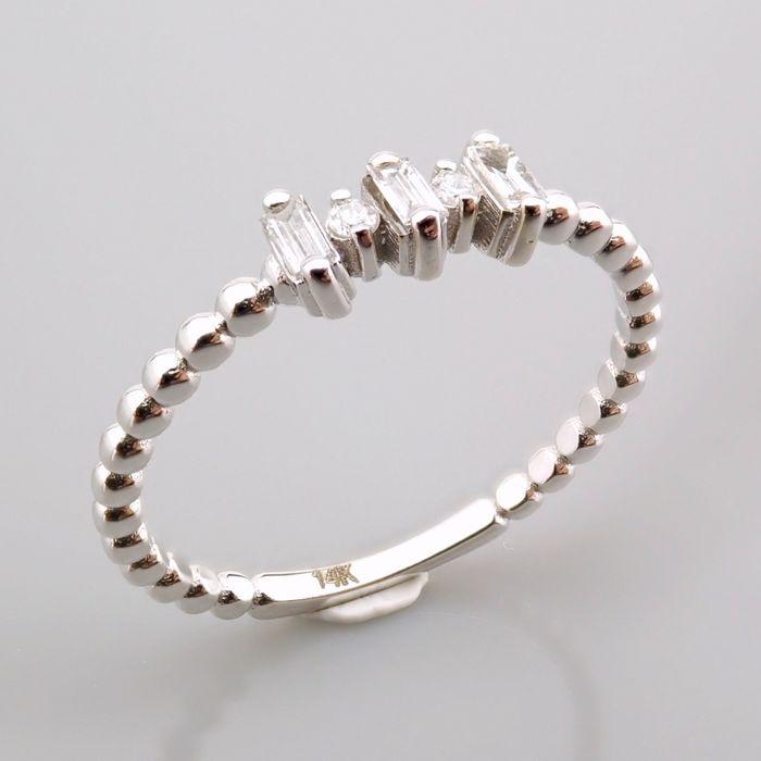 14 kt. White gold - Ring - 0.12 Ct. Diamond