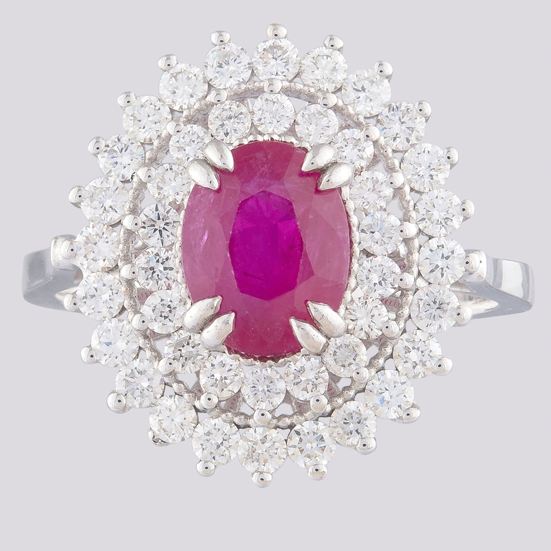 14K White Gold Cluster Ring 1.90 Ct. Natural Ruby - 1.00 Ct. Diamond - Image 3 of 4
