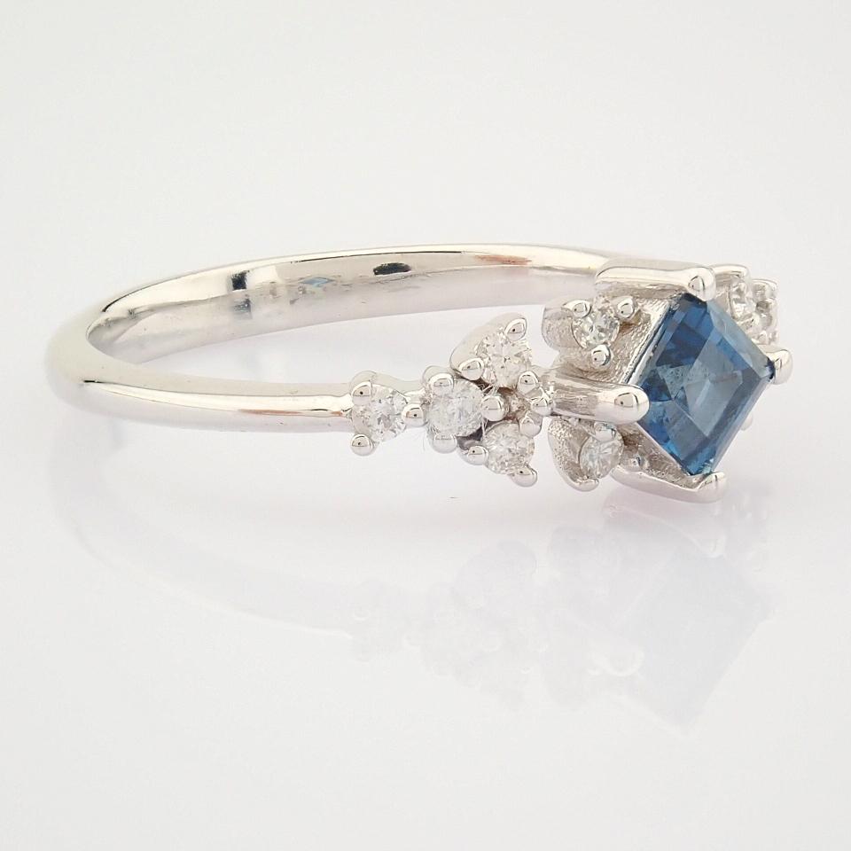 14K White Gold Diamond & London Blue Topaz Ring - Image 5 of 10