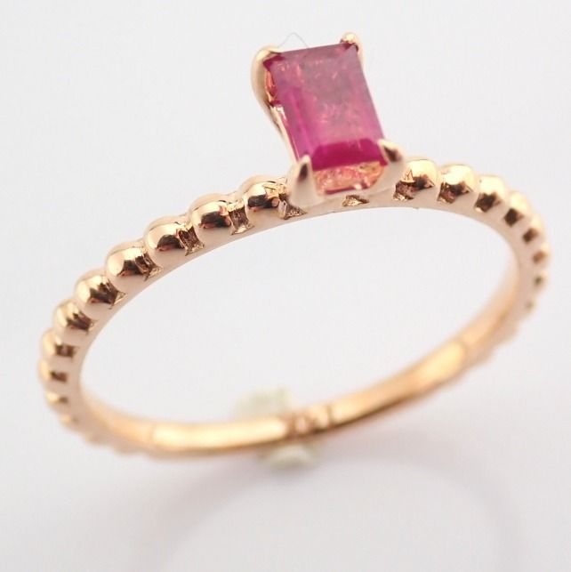 14 kt. Pink gold - Ring - 0.24 Ct. Ruby - Image 5 of 8