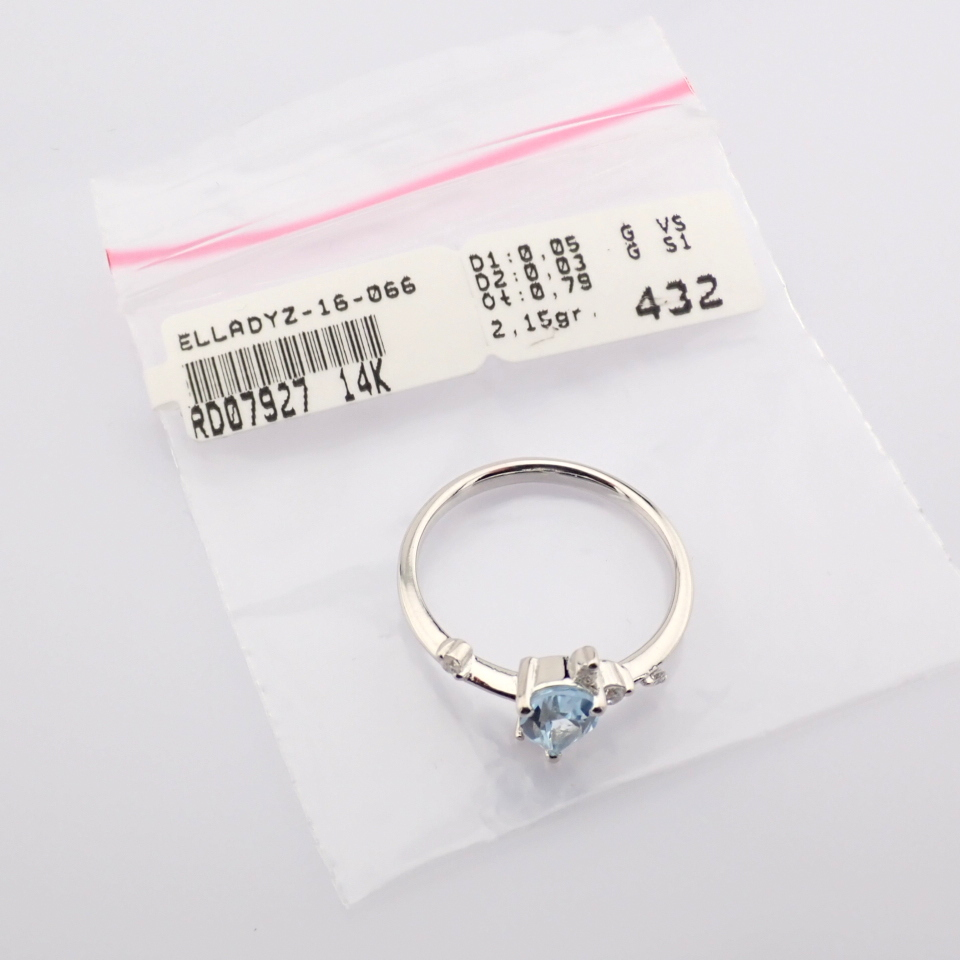 14K White Gold Diamond & Swiss Blue Topaz Ring - Image 7 of 12