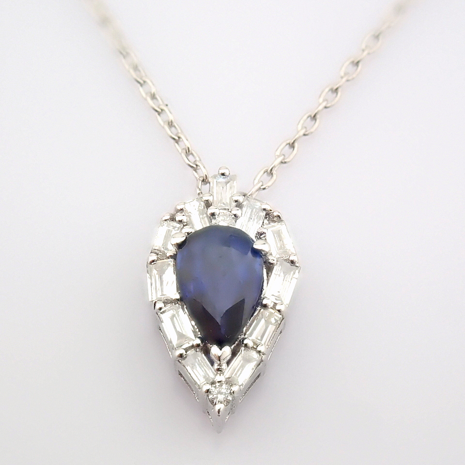 14K White Gold Diamond & Sapphire Necklace - Image 5 of 8