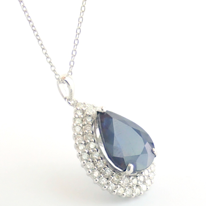 14K White Gold Diamond & Emerald Necklace - Image 7 of 14