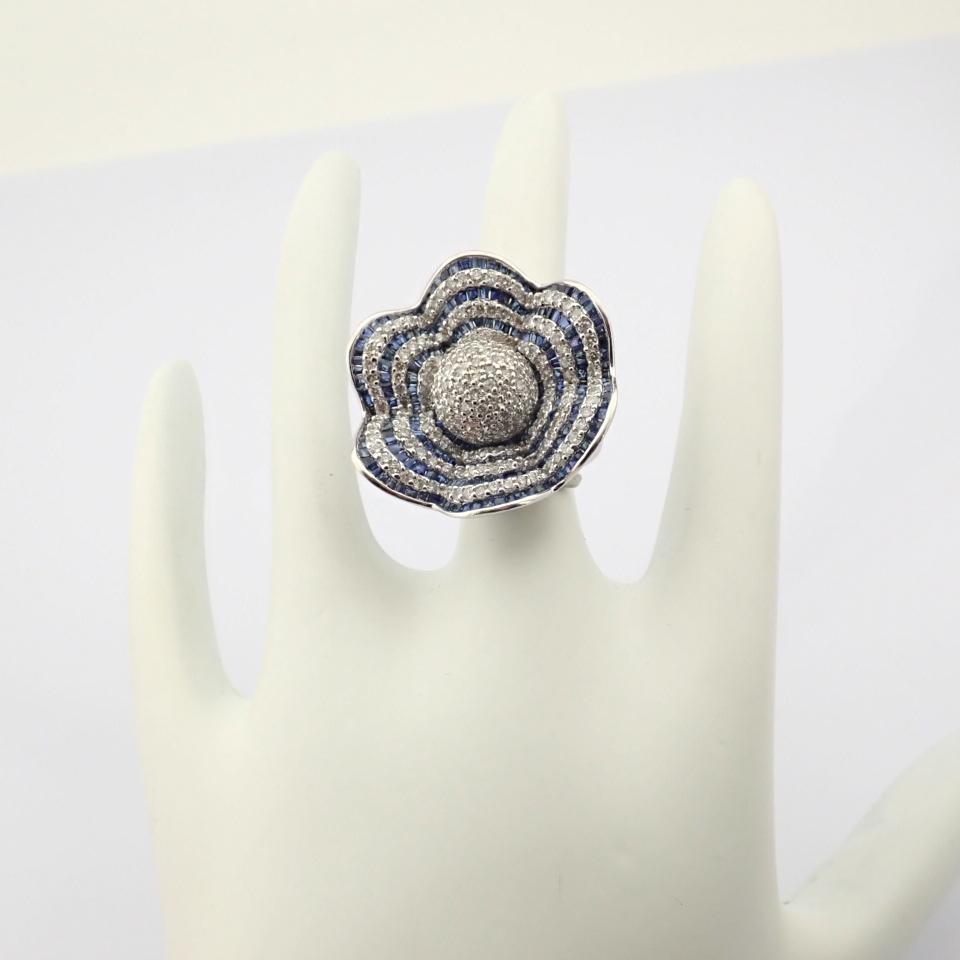 18K White Gold Ring- 4,75 Ct. Natural Sapphire, 2,70 Ct. Diamond - Image 4 of 8