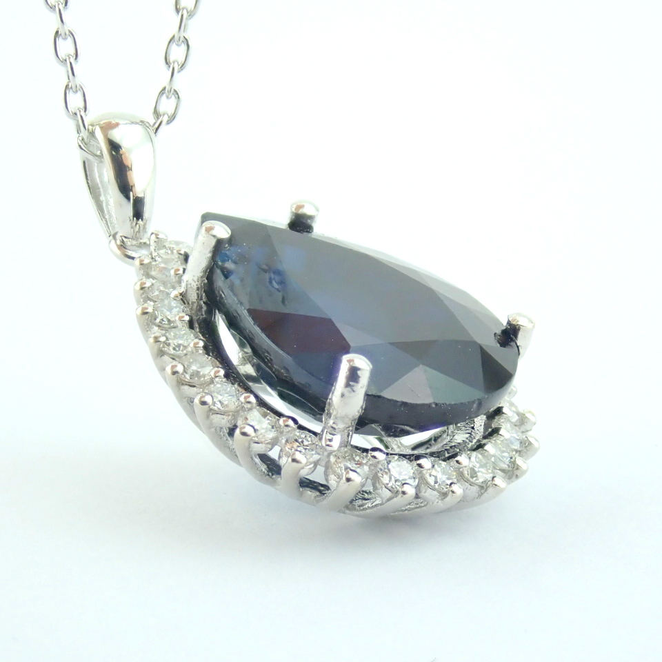14K White Gold Diamond & Sapphire Necklace - Image 11 of 13