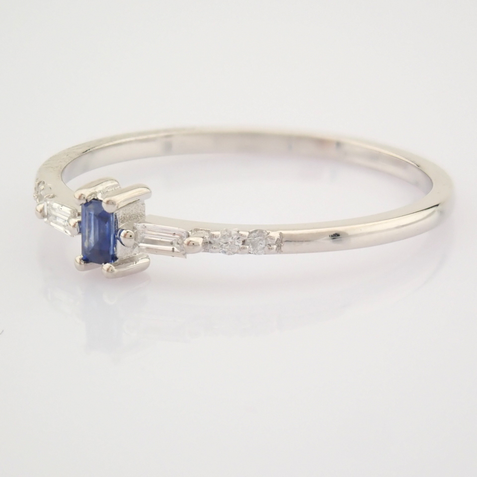 14K White Gold Diamond & Sapphire Ring - Image 9 of 10