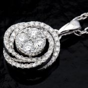 14 kt. White gold - Necklace with pendant - 0.29 Ct. Diamond