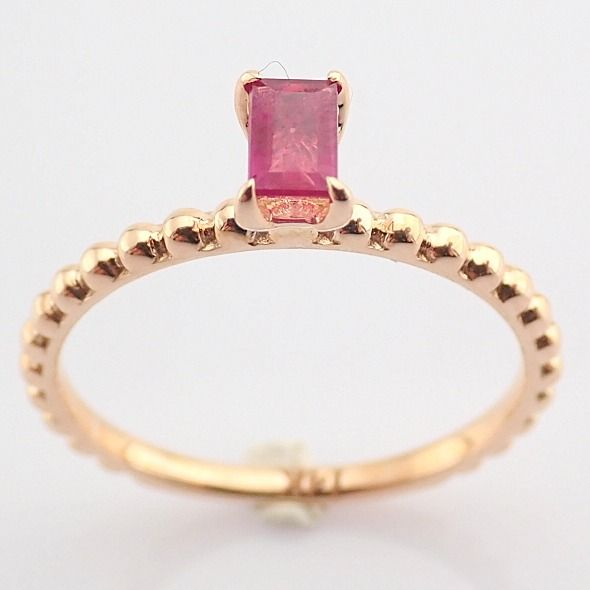 14 kt. Pink gold - Ring - 0.24 Ct. Ruby - Image 7 of 8