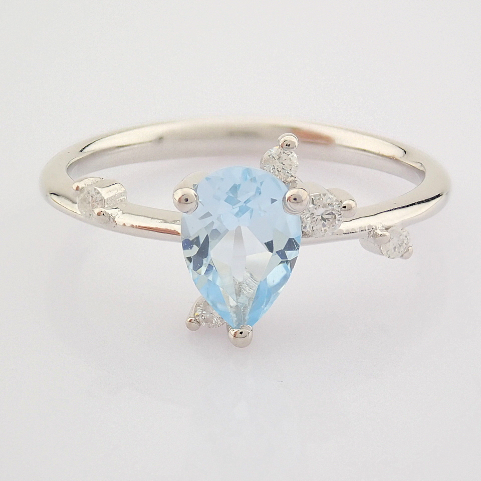 14K White Gold Diamond & Swiss Blue Topaz Ring